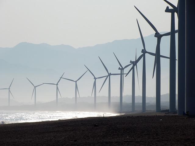 Windmolens aan zee